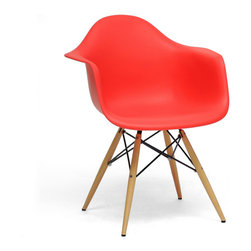 Baxton Studio - Baxton Studio Pascal Red plastic Mid-Century Modern Shell Chair (Set of 2) - The retro simplicity of this classic red modern shell chair will instantly enhance the modernity of your room. Each of these mid-century modern dining chairs is made from durable molded plastic with an ergonomically-shaped and curved seat and armrests. The legs are wooden and include steel hardware in black as well as black plastic tips to protect sensitive flooring. To clean, wipe with a damp cloth.  This item is made in China and assembly is required.  This item is also available in black, red, or white arm chairs or side chairs (each sold separately). Dimensions: 24.25 inches wide x 17 inches deepx 31.25 inches height, seat height:18.25 inches