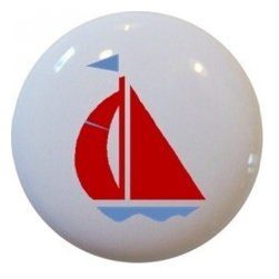 Carolina Hardware and Decor, LLC - Red & Light Blue Sailboat Ceramic Cabinet Drawer Knob - New 1 1/2 inch ceramic cabinet, drawer, or furniture knob with mounting hardware included. Also works great in a bathroom or on bi-fold closet doors (may require longer screws).  Item can be wiped clean with a soft damp cloth.  Great addition and nice finishing touch to any room.