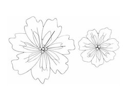 UMA - Jagged Petals Flower Wire Art Set of 2 - Like the jagged flower petals of coreopsis, this pair of flowers makes a clean and simple modern statement
