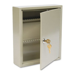 "MMF POS - Uni-Tag Key Cabinet, 60-Key, Steel, Sand, 10 5/8 X 3 X 12 1/8 - Help avoid wasted time and frustration by organizing your key sets. In these heavy-gauge, welded steel cabinets with piano-hinged doors, all keys are attached to numbered tags and filed securely on key rack slots. For convenience, whenever key is on loan, the ""Out Key"" control tag records key number, key recipient and date and is then filed under same slot for accountabilitya great, simple system. Additionally, the alphabetical and numerical lock location data charts assist in organization. For security, each cabinet has a locking door with a standard disc tumbler key lock with two keys. Key Capacity: 60; Material(s): Welded Steel; Color(s): Sand."
