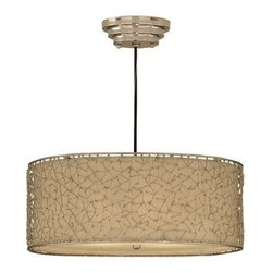Uttermost - Uttermost 21154 3 Light Hanging Shade Pendant from the Brandon Collection - Uttermost 21154 Carolyn Kinder Brandon Silver 3 Lt Hanging ShadeContemporary, nickel plated abstract design encases a stretched champagne taupe liner.Features: