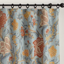 "Cynthia Palampore Drape, 50 x 63"", Blue - Palampores were highly prized by European merchants of the late 17th century. in the tradition of those rich hand-blocked designs, our drape displays a lavish, swirling print of foliage and blooms. 50"" wide; available in four lengths Made from a linen/cotton blend. Lined with cotton. Hangs from the pole pocket or converts to ring-top style with the included drapery hooks. Use with Clip Rings (sold separately). Detailed with a blind-stitched hem. Dry-clean for best results. Catalog / Internet only. Imported."