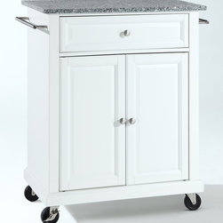 Crosley Furniture - Solid Granite Top Portable Kitchen Cart - 1 Adjustable shelf. 1 Drawer. 2 Beautiful raised panel doors. 2 Towel Bars. 2 Heavy duty locking casters for stability. Solid Granite top. Solid hardwood and veneer construction. Hand rubbed multi-step finish. Brushed Nickel hardware. Assembly required. 1-Year manufacturer's warranty. 28.25 in. L x 18 in. W x 36 in. H (135.3 lbs.)