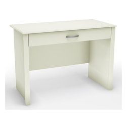 South Shore - Contemporary Desk in Pure White - Accessories and tools not included. Non-toxic laminated particle board. Metal handles in a silver finish. Sliding shelf with folding front panel. Perfect work surface for a laptop. Can be used with a desktop computer. Warranty: Five years limited. Made in Mexico. Assembly required. 42 in. W x 19.5 in. D x 30 in. H (61 lbs.). Assembly Instructions