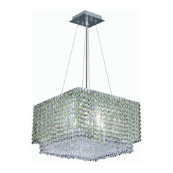 """PWG Lighting / Lighting By Pecaso - Warrane 4-Light 16"""" Crystal Chandelier 1105D16C-LP-RC - Shimmering and glamorous rows of crystals make these Crystal Chandeliers eye-catching designs. Each combination in the Warrane Collection is an exceptional work of art providing an enchanting centerpiece to any room."""