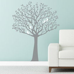 Cherry Walls - Whimsical Tree Decal With Cute Birds - Create a sense of wit and whimsy in your child's room or with the Bye-Bye Birdie tree decal, complete with roosting red birds. Luckily, those birdies won't disturb sleepy-time naps.