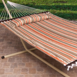 Island Bay - Hammock with Stand: Island Bay Sienna Stripe Quilted Hammock with Steel Stand - Shop for Hammocks from Hayneedle.com! The Island Bay Sienna Stripe Quilted Hammock with Stand is ideal for cool summer nights or fall afternoons under the sun. This quilted hammock is made of durable weather-resistant outdoor fabric and its cushiony surface will have you feeling sublime in no time. It features a sophisticated striped pattern of browns and oranges. A matching pillow ups the comfort level and buttons right to the hammock so it won't blow away. Two people can relax together as this set has a weight capacity of 450 lbs. The heavy-duty 14-gauge steel stand is powder-coated for weather resistance and to protect the material underneath from rust. It's available in several color options. The stand assembles quickly without tools and all the hanging hardware is included with the hammock. About Island Bay HammocksIsland Bay Hammocks come to you directly from the skilled hammock artisans of Chennai India. Using the latest technology alongside time-tested traditional methods of construction these hammocks are woven with the pride of their makers.