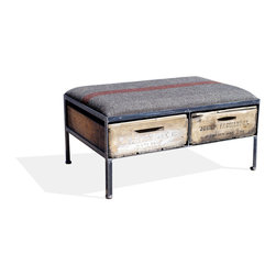Vintage Crate Ottoman - 2 Drawer, Grey W/ Red Stripe - These amazing handmade ottomans are made locally from vintage fruit crates, and are upholstered with different vintage fabrics. Each are unique and crate graphics may vary. They make a great addition to any room.
