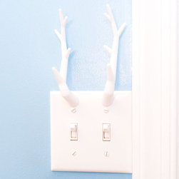 Antler Double Switch Plate Light Cover by Pixel 3D - Proudly display that antler rack you, er, got on Etsy. Plus, it holds stuff.