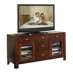 Riverside Furniture - Riverside Furniture Castlewood Entertainment Console in Warm Tobacco - Riverside Furniture - TV Stands - 33541 - Riverside's products are designed and constructed for use in the home and are generally not intended for rental commercial institutional or other applications not considered to be household usage.Riverside uses furniture construction techniques and select materials to provide quality durability and value in our products and allows us to meet the wide range of design and budget requirements of our customers. The construction of our core product line consists of a combination of cabinetmaker hardwood solids and hand-selected veneers applied over medium density fiberboard (MDF) and particle board. MDF and particle board are used in quality furniture for surfaces that require stability against the varying environmental conditions in modern homes. The use of these materials allows Riverside to design heirloom quality furnishings that are not only beautiful but will increase in value through the years.