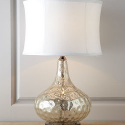 Horchow - Vizzini Table Lamp - Illuminate your decor with this exquisite table lamp. An accentuating round shade completes the chic look. Handcrafted of water glass that is finished with a slightly antiqued, crackled interior atop a polished chrome base with black nickel detail. S...