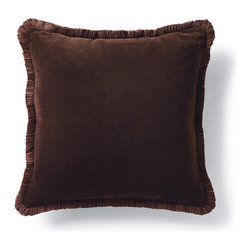 Frontgate - Velvet Decorative Pillow with Fringe - Masterfully sewn velvet. Includes poly-fill insert. Hidden zipper. Made in the USA of imported fabrics. Because this bedding is specially made to order, please allow 4-6 weeks for delivery.. Our Decorative Throw Pillows are sewn from lustrous velvet. Each finely crafted pillow features coordinating decorative fringe or cord trim and a hypo-allergenic poly fiber fill insert.  .  .  . . .