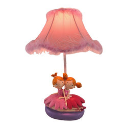 Zeckos - Twin Ballerina Sisters Lamp with Feather Trimmed Shade - This resin lamp adds a sweet accent to any little girl's room, featuring a pair of twin sister ballerinas, glitter accents, and a girly feather trimmed shade. It measures 18 inches tall, has a 7 1/4 x 5 3/4 inch base, and the scallop-edged shade is 11 1/2 inches in diameter. The lamp uses a 60 watt (max) type A bulb (not included), and has a white 5 foot power cord with a thumb wheel switch. This lamp makes a great gift that is sure to be loved.