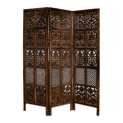 """Everybody's Ayurveda - Patterned Hand Carved 3 Panel Screen - Soulveda Patterned Screen. Hand-carved. Mango wood. 60"""" Wide x 72"""" Tall x 3"""" Deep. Use as an accent piece or to segment a small space!"""