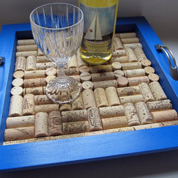 True Blue Wine Cork Tray by LizzieJoeDesigns - Wouldn't a set of cobalt blue glasses look marvelous on this tray? Filled with recycled wine corks, it makes serving a breeze and can even double as the base for a centerpiece.