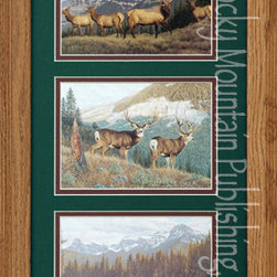 Rocky Mountain Publishing - Big Game Triple, Manuel Mansanarez Wildlife Art Framed Set 10x20 - The  beauty  of  wildlife  art  takes  focus  in  this  combination  of  Manuel  Mansanarez  prints  called  Big  Game  Triple.  While  the  elk,  deer,  and  moose  take  center  stage  the  true  beauty  of  these  individual  pieces  combined  is  the  majesty  of  the  western  mountain  vistas.  Depicting  a  variety  of  landscapes  all  complete  with  the  mountains  in  the  background  you'll  see  wildlife  frozen  in  a  moment  as  they  quickly  look  around  at  what  might  have  suddenly  startled  them.  These  wildlife  paintings  will  make  a  great  addition  to  any  rustic  decor.                  Dimensions:  Glass  and  Matting  measure  10x20  inches;  Exterior  Frame  dimensions  approximately  16x26  inches              Handsomely  matted  and  framed              Hardware  for  hanging  is  pre-installed              Treated  with  a  protective  coat  of  acid-free  sealant              Artist:  Manuel  Mansanarez;  Allow  2  weeks  for  shipping