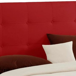 Skyline Furniture - Red Microsuede Button Tufted Headboard w Foam - Choose Size: TwinAdjustable legs. Plush foam padding. Attaches to standard bed frames. Made from 100% polyester. Made in the USA. Minimal assembly required. Twin: 41 in. L x 4 in. W x 51 in. H (24 lbs.). Full: 56 in. L x 4 in. W x 51 in. H (31 lbs.). Queen: 62 in. L x 4 in. W x 51 in. H (33 lbs.). King: 78 in. L x 4 in. W x 51 in. H (45 lbs.). California king: 74 in. L x 4 in. W x 51 in. H (40 lbs.)Button tufted headboard