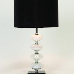 Benzara - Artistic Metal Glass Table Lamp - Metal Glass Table Lamp looks like a decorative sculpture and can be used as classical garden decor also during parties. The special design of shade delivers unique lighting effect in the surrounding areas.