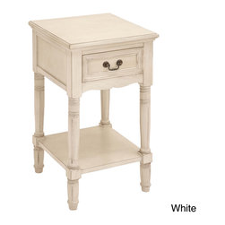 Casa Cortes - Casa Cortes Antiqued White Solid Wood Night Stand - Inspired by late 18th-century French furnishings this stand captures the linearity and painted finishes associated with that period. Crafted of solid hardwood,each piece is carefully distressed using a hand-applied multi-step process.