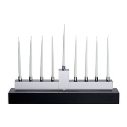 Orrefors - Menorah Candleholder - Design Martti Rytk'nen. Bold and majestic with clear and black glass.