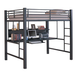 Coaster - Coaster Full Size Metal Loft Bed with Computer Workstation in Black - Coaster - Bunk Beds - 460023 - When work space is hard to come by simply transform sleeping space into work space with the Coaster Full Size Black Loft Bed with Computer Workstation. Designed with a contemporary style and finished in black this loft bed is sure to add class and sophistication to any childs bedroom. The spacious desk area features a shelf for organization and a pullout keyboard tray. Add style and practicality together and the result is the Full Size Black Loft Bed by Coaster.