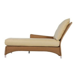 Lloyd Flanders Mandalay All-Weather Wicker Right Arm Chaise Lounge - What could be better than lounging on the breezy Burmese coastline? Lounging on the Lloyd Flanders Mandalay All-Weather Wicker Right Arm Chaise Lounge right in your backyard. Okay, so quite a few people might pick the former, but the Lloyd/Flanders chaise from the Mandalay collection can bring some of that East Asian feel to your outdoor recreation area. This elegant lounger mixes contemporary American design with East Asian influence. The clean lines and mixture of hard and soft textures brings an edginess to the Burmese coastal feel of the sea grass-like weave and all over curvature. The curves' sway in and out from the center creates a harmonious counterbalance that makes these pieces a well-rounded addition to your collection. This curvature also hugs the lounger while creating a comfortable seat that you can sink right into, while the bottom arches create a stronger, sturdier chaise. And no airline tickets are required.The Comfort Plush cushions that come standard with the Mandalay collection by Lloyd/Flanders will support you with their internal spring bond premium core with dense foam and special polyester fiber that ensure total relaxation. Wrapped around this high-quality core is a polypropylene jacket of spun-bond fabric that sandwiches a hydrophobic inner meltblown-fabric layer - an absolute must for any outdoor furniture. And to guarantee that they fit with your tastes and decor, they come in a wide variety of colors and patterns that you're sure to love.The attractive frames of the Mandalay collection by Lloyd/Flanders start with a strong aluminum frame that is wrapped in a unique synthetic wicker. Though the wicker construction uses a unique five-strand weaving technique that gives the appearance of natural sea grass, it is actually hand crafted with cellulose fibers and aluminum wire woven into the fabric, making this furniture even more durable and beautiful than pieces made with na
