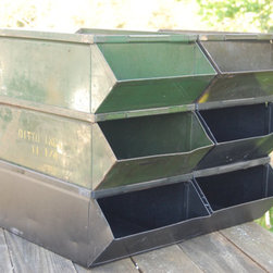 Large Industrial Metal Stacking Storage Parts Bins by C3L35T3 - You can never have too much storage in college. These vintage bins would be perfect for holding paperwork and such.