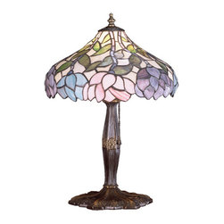 """Meyda Tiffany - 17""""H Wisteria Accent Lamp - Stylized wisteria flower clusters of China Pink, Grape and Amethyst Blue with Jade Green leaves drape over this Ivory toned graceful copper foil accent lampshade. The classic styling of this Tiffany style stained glass fixture and soft pastel colors will add charm to any room."""