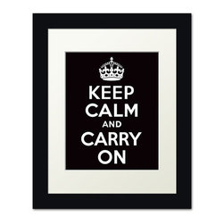 Keep Calm Collection - Keep Calm And Carry On, framed print (black) - This item is an Art Print which means it is a higher-quality art reproduction than a typical poster. Art prints are usually printed on thicker paper, resulting in a high quality finish. This print is produced on a 270 gsm fine art paper stock.