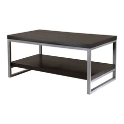 Winsome - Jared Coffee Table, Enamel Steel Tube - Jared line of contemporary occasional tables is made with pewter color enamel finished metal tube frames and black wood tops.
