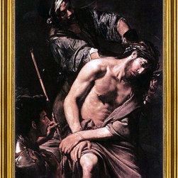 """Valentin De boulogne-18""""x24"""" Framed Canvas - 18"""" x 24"""" Valentin De boulogne Crowning with Thorns framed premium canvas print reproduced to meet museum quality standards. Our museum quality canvas prints are produced using high-precision print technology for a more accurate reproduction printed on high quality canvas with fade-resistant, archival inks. Our progressive business model allows us to offer works of art to you at the best wholesale pricing, significantly less than art gallery prices, affordable to all. This artwork is hand stretched onto wooden stretcher bars, then mounted into our 3"""" wide gold finish frame with black panel by one of our expert framers. Our framed canvas print comes with hardware, ready to hang on your wall.  We present a comprehensive collection of exceptional canvas art reproductions by Valentin De boulogne."""