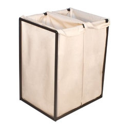 Bagstand - Double Bronze Hamper with Cotton Bags - Our laundry bags are removable for trips to the cleaners or laundry room. The specially designed clip locking mechanisms secure the bags to the Bag Stand frame. The weight of the clothes rests firmly on the floor, so the stand will not tilt regardless of how full it may get. The design is simple but elegant, perfect for a range of decor from traditional to modern. Works well in a master bedroom, bath or laundry room and holds 4 loads of laundry.