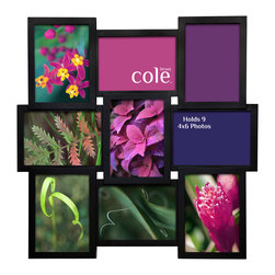 """Philip Whitney - 9 Photo Molded Collage Frame, 4""""x6"""" - Decorate your walls using this Molded Collage Frame. Featuring both horizontal and vertical black wood frames arranged in a square collage, this versatile piece can accommodate nine different 4-by-6 inch photos. Sleek and simple, this frame pairs well with both bold and neutral color schemes."""