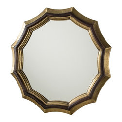 Arteriors - Kass Mirror - This wonderful scalloped solid wood frame has a delicate banding of hand applied antique brass foil. The brass will continue to age with time, providing a lovely contrast to the dark walnut wood finish. Features a sawtooth hanger.