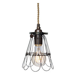 Hammers & Heels - Industrial Trouble Cage Pendant Light- Ship Rope Cord - WIRE CAGE PENDANT LIGHT