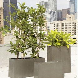 troy galvanized planters - green industry. Grow modern in heavy-duty, lightweight moulded galvanized steel with handwelded edges. No drainage hole; plastic liner recommended for indoor use.- Galvanized steel- No drainage hole; plastic liner recommended- For use indoors and out- Clean with a soft, damp cloth- Made in Vietnam- See dimensions belowInternet only.