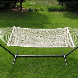 None - Extra-large 2-person White Rope Cotton Hammock - Kick back and relax in your yard or on the patio with this soft cotton hammock. It has a white finish combined with a traditional woven rope design that cradles your body for optimum comfort and support. It's also durable for years of function.