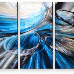 Matthew's Art Gallery - Metal Wall Art Abstract Sculpture Contemporary Handmade Blue Bubbles - Name: Blue Bubbles