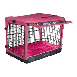 "Pet Gear - Deluxe Steel Dog Crate in Pink - Features: -Top, front and side doors for easy access. -Folds flat for storage. -Sets up in seconds without tools. -Heavy gauge curved steel panels. -Wheels and pull handle make moving easy. -Heavy-duty plastic top holds up to 100 lbs.. -Fits in the backs of most SUVs and vans. -Includes fleece/nylon crate pad. -Includes crate carrying bag. -Also available in Brown, Ocean Blue, Sage, Pink and Tan. -Small and medium sizes also available separately in Pink and Ocean Blue. SizeDimensionsSuggested BreedsSmall21"" H x 18"" W x 26"" LDachsund, West Highland Terrier, Pembroke Welsh Corgi, Schipperke, Pug, Large Cat"