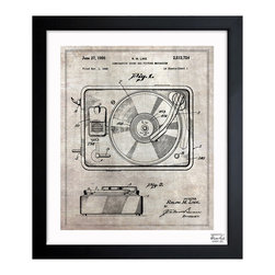 "The Oliver Gal Artist Co. - 'Combination Sound And Picture' Framed Wall Art 15"" x 18"" - Perfect for the audiophile in your life, this vintage patent drawing of a turntable dates to 1950. Choose from three sizes for your wall space and delight in this old-fashioned music player. Display your record collection around this historic print."