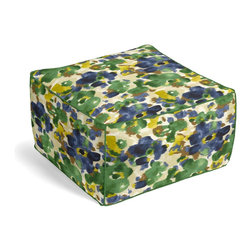 Blue & Green Dappled Watercolor Custom Pouf - The Square Pouf is the hottest thing in decor since the sectional sofa. This bean bag meets Moroccan style ottoman does triple duty as a comfy extra seat, fashion-forward footstool, or part-time occasional table.  We love it in this abstract watercolor pattern dappled with bold, modern tones of emerald green, cobalt blue & golden mustard.