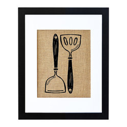 Fiber and Water - Kitchen Spatula's Art - This simple depiction of kitchen spatulas gets extra charm from being printed onto burlap like a vintage seed sack. The natural, rustic look of the burlap is balanced by a contrastingly crisp and modern black frame and white matte, making this a print that will look stylish in almost any kitchen.
