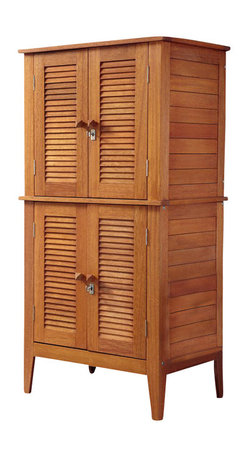 Home Styles - Home Styles Montego Bay Four Door Multi-Purpose Storage Cabinet - Home Styles - Storage Cabinets - 566127 - The Montego Bay Four Door Multi-Purpose Storage Cabinet by Home Styles is just what you've been looking for to meet your outdoor as well as indoor storage needs. Showcasing an island inspired design in a versatile Eucalyptus finish and constructed of eco-friendly plantation grown Shorea wood which is known for its exceptional durability and natural resistance to water. Features include four cabinet doors with four shelves inside slat style design that allows for proper drainage and lockable doors with key for added security. The shelves can be removed if needed to store larger items such as shovels brooms leaf blowers etc.