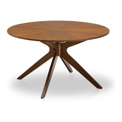 Bryght - Conan Round Dining Table - Luxurious and versatile make up the characteristics of the Conan dining table. A stunning sunburst wood veneer top adds glamour while its dynamic centered leg design lends it a wonderful sculptural feel.