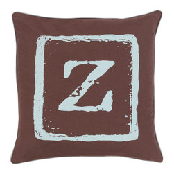 """Surya - Surya BKB-034 Pillow, 20"""" x 20"""", Down Feather Filler - Add a personal stamp to your space with the inclusion of this utterly perfect pillow. Hand made in India of 100% cotton, the boldly printed initial in smooth coloring effortlessly permits for a private touch while simultaneously embodying divine design from room to room within any home decor."""