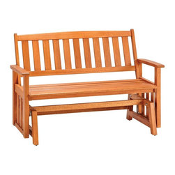 HomeStyles - Bali Hai Outdoor Glider Bench Eucalyptus Fini - Eco-friendly, plantation grown Shorea wood. Contoured seat. traditional slat design. Stainless steel hardware. Dimensions: 54.25 in. W X  28 in. D X  35.75 in. HCreate an island oasis on your porch or patio with a Home Styles Bali Hai Outdoor Glider Bench.  Showcasing an island inspired design in a versatile eucalyptus finish and construction of eco-friendly, plantation grown Shorea wood which is known for its exceptional durability and natural resistance to water, this bench is designed to provide endless hours of outdoor entertainment use.  Curved back and contoured seat provides excellent support and imparts a slightly modern touch to the overall traditional slat design.  Beautifully built with stainless steel hardware.  Seat height measures 17.75 inches high. Size: 54.25w 28d 35.75h.