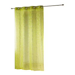 "Evideco - Printed Sheer Grommet Curtain Panels Silvermoon Green - ""This beautiful printed sheer window curtain panel SILVERMOON features silver interlocking circles on green background, is sold individually and measures 55""""W x 95''L. This green voile panel, made of 100% polyester, adds a subtle, reflective touch to the s"""
