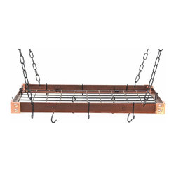 "Rogar - KD Rectangle with Grid, Hammered Copper/Black - Dimensions:  30"" x 15"" x 2"""