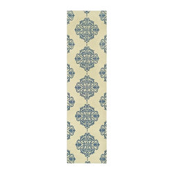 Safavieh - Runner Rug - Country style. Hand-hooked to a durable cotton backing. Made from 100% pure virgin wool. Blue and ivory color. Pile height: 0. 25 in. 10 ft. L x 2 ft. 6 in. W. American Country and turn-of-the-century European designs. American Country and turn-of-the-century European designs. This collection is handmade in China exclusively for Safavieh.