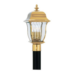 "Designers Fountain - Designers Fountain 1556-PVD-PB 10"" Post Lantern Solid BrassGladiator Collection - Solid brass lanterns with a durable PVD finish that will not pit, tarnish, corrode or discolor."